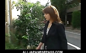 Horny Japanese mollycoddle with cum essentially her heavy tits