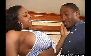 Ghetto chocolate whore creamed ass cock ridding