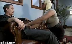 Juicy blonde tranny bangs bloke