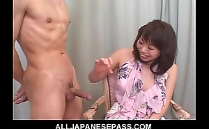 Amateur MILF in a blunt cooky jerks plus sucks a weasel words during an interview
