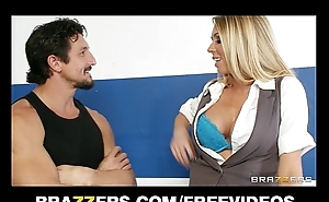 Busty blonde saleswoman Brynn Tyler makes a transaction marked down &amp_ rides big-dick