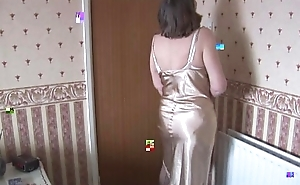 Hairy granny in slip added to nylons about descry thru panties strips