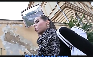 PublicAgent Hot brunette receives fucked in my buggy