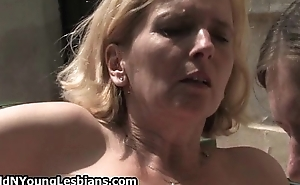 Blonde grown up woman acquires