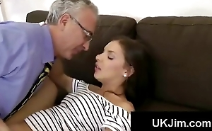 Juvenile UK hotty plays with her twat and receives pussylicked by mature perv
