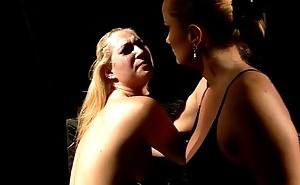 Lez goddess ravages captured f slave pussy