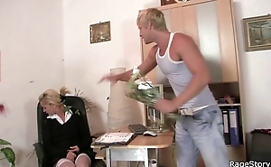 This babe rides his cock real enduring at the brush birthday