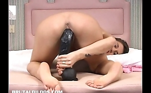 Katina riding a censorious dildo