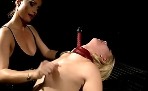 Lezdom mollycoddle pegs bonded slave pussy