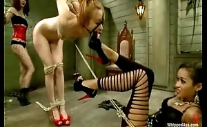 Blond, whipped with an increment of double penetrated by two nasty lesbians