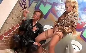Lesbians slapping vagina with regard to get bukkake from gloryhole
