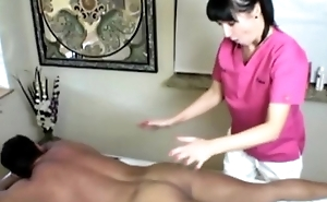 Cock itchy masseuse tugs her client