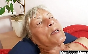 Ugly grandma Cecilie toys her  queasy pussy