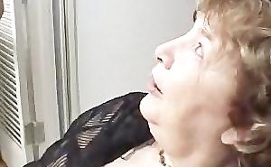 Sex-crazed grandma sucking stiff pallid cock