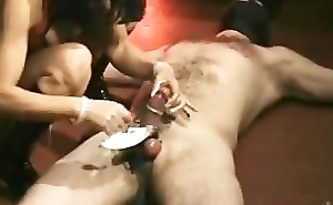 Dick for dirty slave gets hits increased by elektroshocked by latex mistress