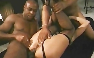 Latex girl fucked off out of one's mind big black cocks