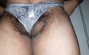 Man heap up on white wife's panties and dancing in it hiding his testicles and weasel words alien camera.