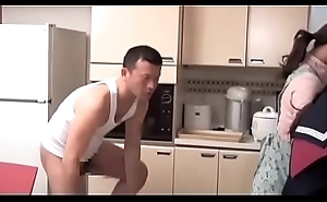 School girl enervating glass gets screwed by the brush step brother in the kitchen