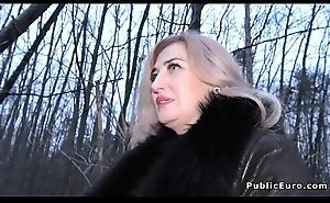 Tattooed ass blonde Milf copulates public agent