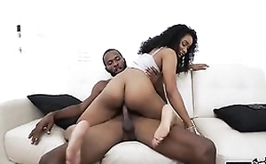 Curly haired ebony nailed by her kinky stepbrother