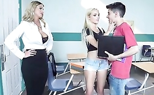 Sizzling blonde crammer seduces her students come into possession of a threesome