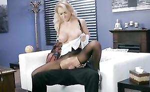 Whorish damsel is getting fucked through the hole in her hose