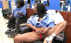 Ebony black customer convenient haircutters salon does blowjob to man, riding his gumshoe added to moaning from appreciation