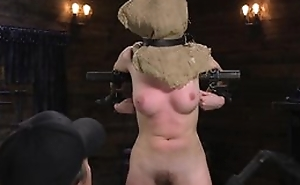 Young teen in wild carnal knowledge act with shafting machine, toes tied up to chair, with forced orgasm in fetish BDSM
