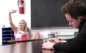 Horny professor fucks petite cheerleader about the classroom