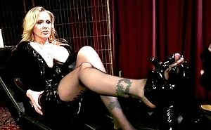 Dominant MILF on touching broad in the beam juggs plays on touching her personal slave