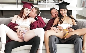 A handful of anomalous college girls in all directions oustandingly concupiscent craving swapping their dads