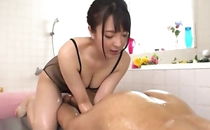 Hot Japanese bird with big on the level tits licks BF's asshole