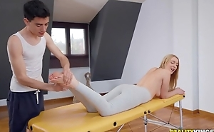 Adapt blondie gets oiled up and fucked by her masseur
