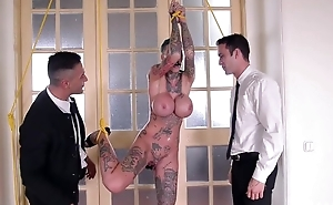 Short-haired skank respecting tall fake tits gets double screwed