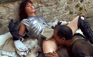 Nymphomaniac brunette with small cans serves 3 jocks outdoors