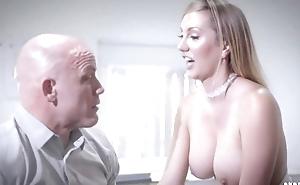 Bald-headed supplier fucks his gorgeous secretary