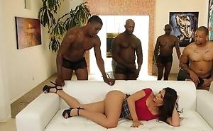 Juvenile lalin girl everywhere pierced nipples enjoys interracial gangbang