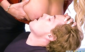 Brazzers teacher with Cyclopean pair and aggravation rides pupil on her desk