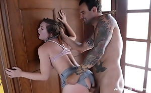 Insubordinate brunette with natural tits screwed through the hole in her shorts