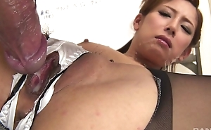 Japanese office infant gets fucked hard through the hole in will not hear of panties