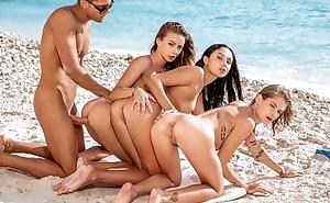 Three superb girls pleasuring lucky sponger upstairs the margin