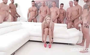 Kinky Czech babe acquires troop banged in someone's skin living court