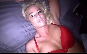 Perverted blonde mom sucks stiff shaft together with gets drilled in POV