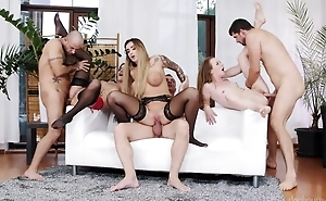 Three insatiable bitches getting fucked hard in the lousy room