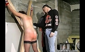 Horny tied brown receives butt spanked