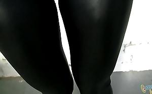 Horny Hawt Girl In Clouded Spandex Shiny Tight Leggings