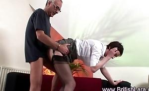 Mature guy fucks mature woman in suspenders and heels